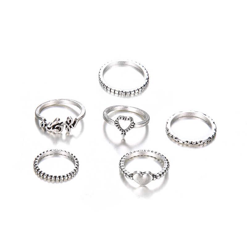 6 ชิ้น/เซ็ตผู้หญิงแฟชั่นหัวใจรักข้ามจี้แหวนเงินแหวนชายหาดชุดประณีตของขวัญวันวาเลนไทน์
