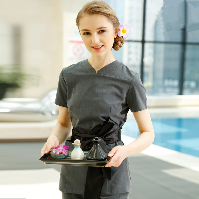 High quality uniformes overalls medical women work tie bow for Spa uniform alibaba