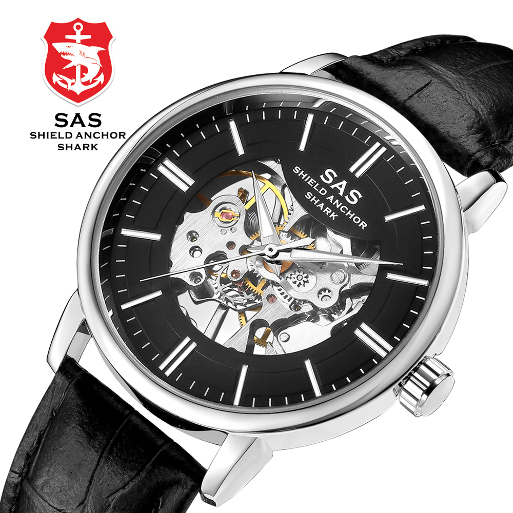SAS Mens Skeleton Mechanical Watches Waterproof Watch Men Women Military Sport Watch Leather Band Clock relogio masculino