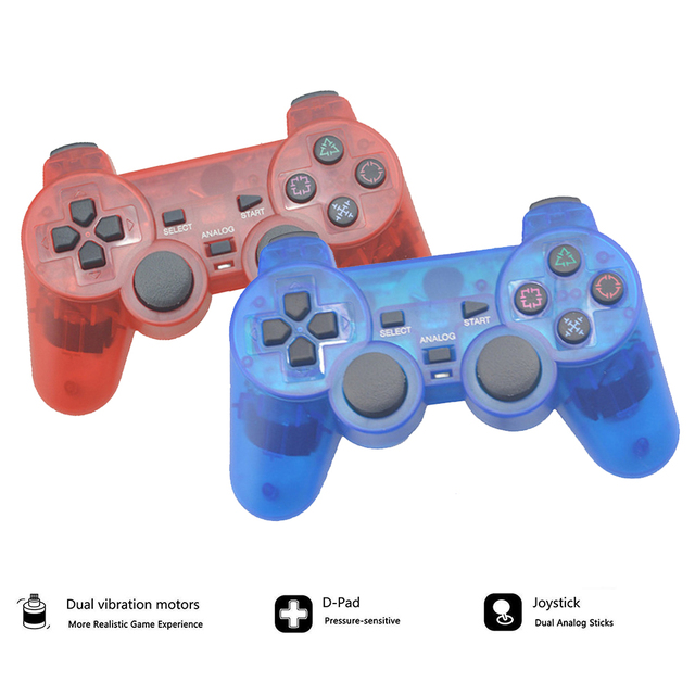 Transparent Wireless Gamepad For Sony PS2 Controller Vibration Shock Joypad Wireless Controle For Playstation 2 Console Joystick