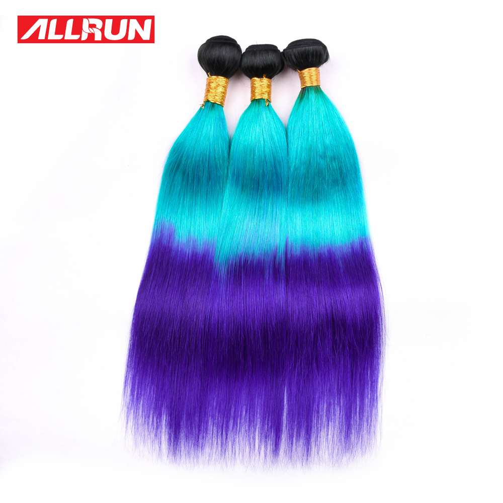 Allrun Brazilian 1B/Blue/Purple Color Ombre Hair Bundles 3PC Remy Straight Hair 100% Human Hair Weave Bundles