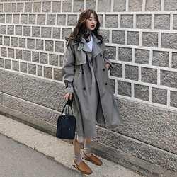 Женская обувь в Корейском стиле повседневные Свободные Тренч с поясом 2019 Новое поступление весна длинные элегантные пальто женское пальто