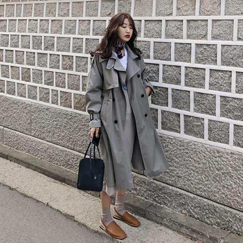 Estilo coreano mujeres casual suelto trinchera con fajas 2019 nueva llegada primavera elegante abrigos señoras abrigo
