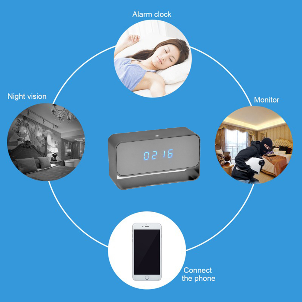 WIFI Mini Camera 1080P Time Alarm CCTV Home Security Clock Wireless Nanny IP Camera P2P IR light Night Vision Motion Detection (3)