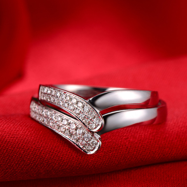 18ct Gold Diamond Couple Set Rings Wedding Bands Engagement For Men Women Free DHL Shipping