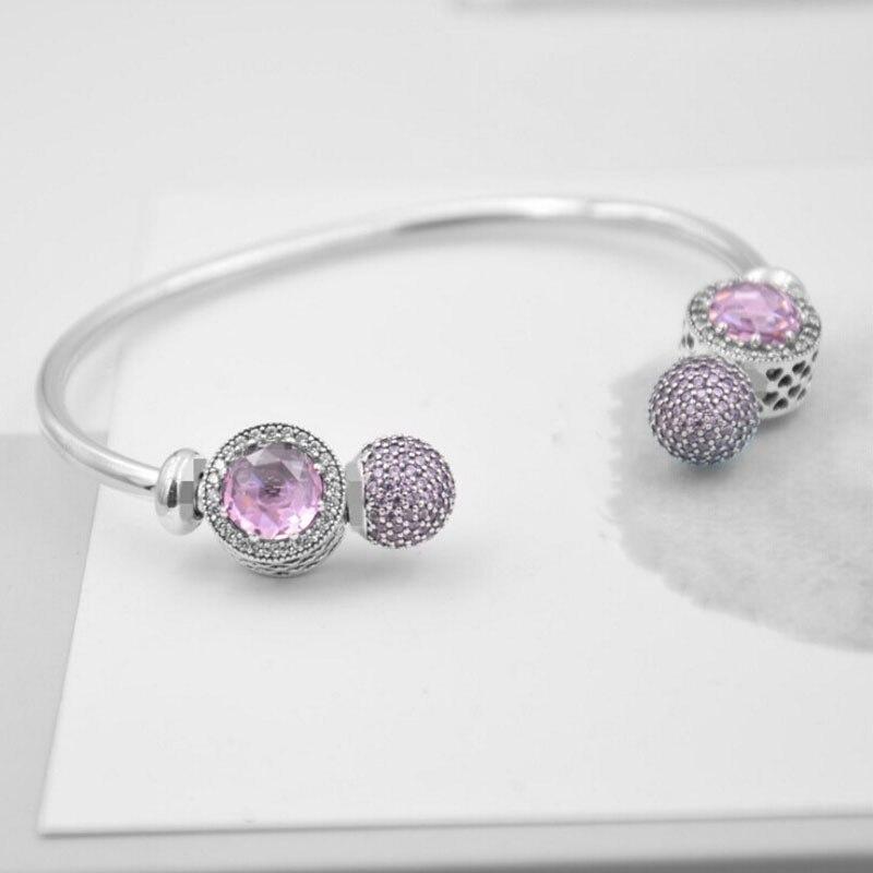 Compatible avec la marque européenne Style 100% 925 bijoux en argent Sterling bracelet ouvert avec deux Pcs rose Cz charme bricolage faisant