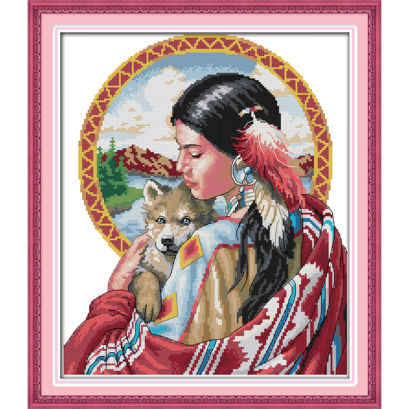 Everlasting love Christmas Indian girl Ecological cotton Chinese cross stitch kits counted stamped 11CT product sales promotion