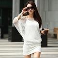 Новая Мода Лето Женщины Dress Тонкий Из Двух Частей Пакет Хип Свободные Сексуальные Полый Рукав Летучая Мышь Большой Размер 2 Цветов