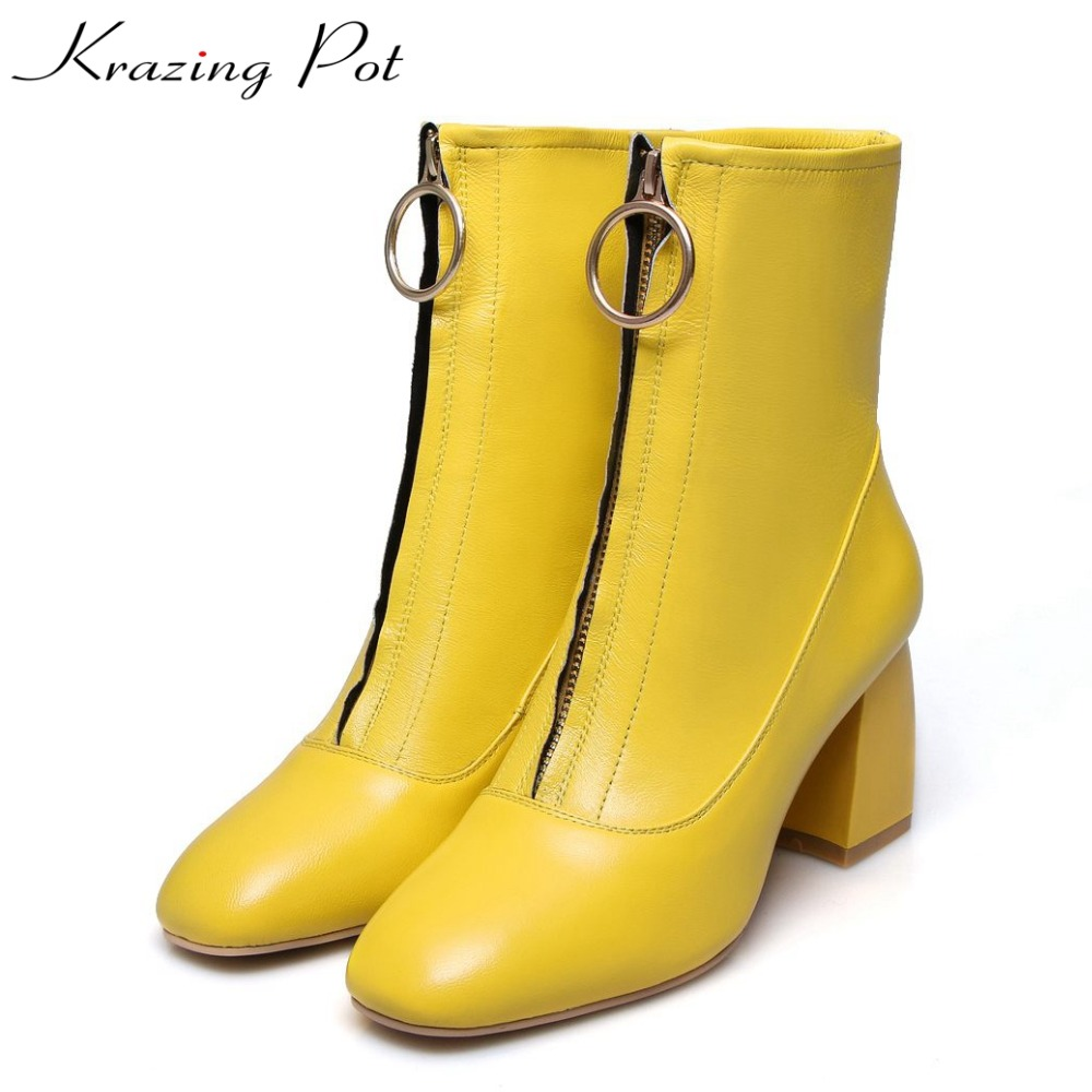 Krazing Pot genuine leather sheep skin thick high heels square toe zipper boots women superstar party western mid-calf boots L17