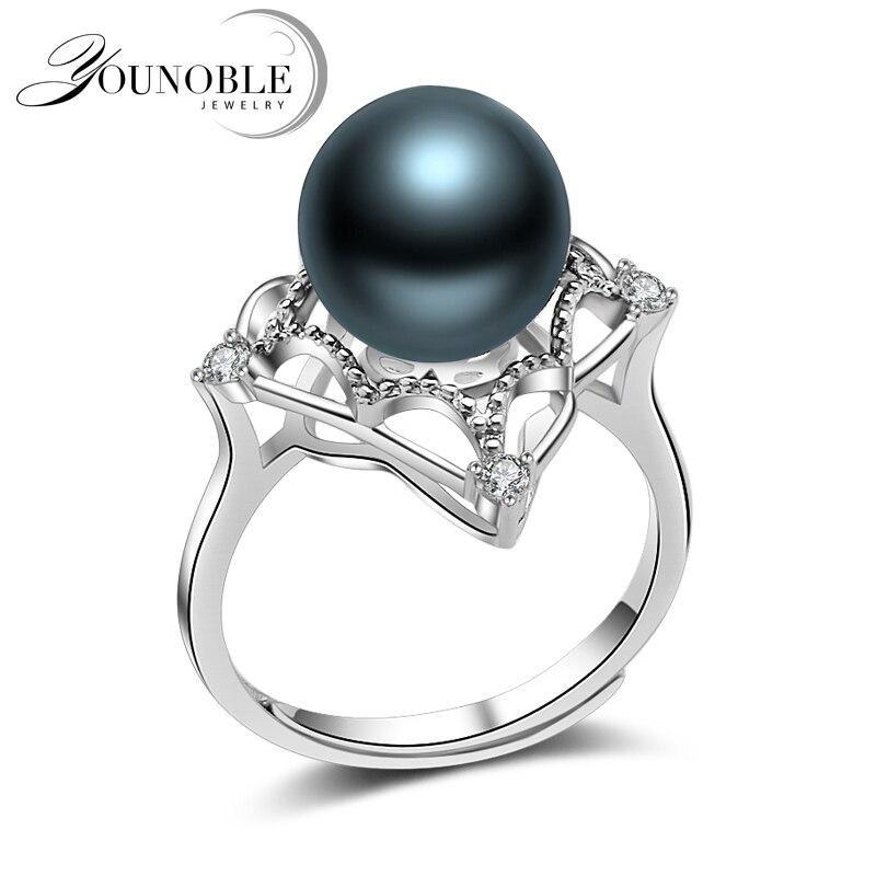 Anneaux de perles noires de mariage femmes, véritable bague de perles naturelles de tahiti ronde 925 bijoux en argent accessoires de cadeau d'anniversaire de femme