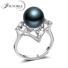 Wedding Black Pearl Rings Women,Real Round Tahitian Natural Pearl Ring 925 Silver Jewelry Wife Anniversary Gift Accessories