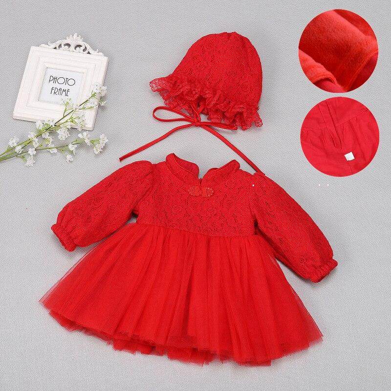 Robe bébé hiver épaissie vêtements chauds robe de fête de mariage robes pour bébés nouveau-né 1 an cadeau d'anniversaire robe rouge vêtements de bébé
