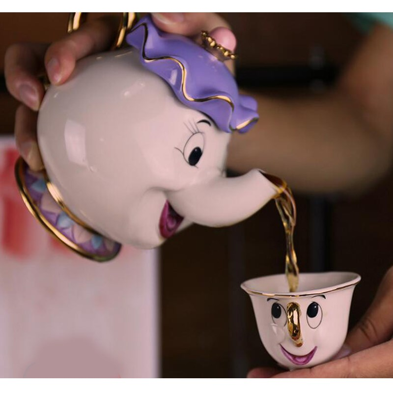 100 Gold Plate High Quality Cartoon Beauty and the Beast Teapot Mugs Collection Set Mrs Potts
