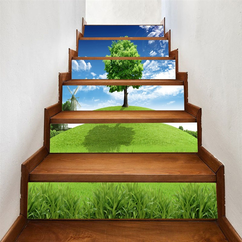 Image 2 - 3D Tree Stairs Stickers Corridor Stairs Staircase Decorative Floor Paste PVC Wall Stickers-in Wall Stickers from Home & Garden
