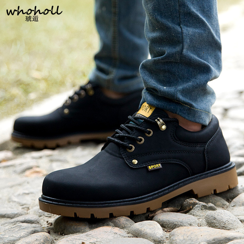 WHOHOLL Genuine Leather Men Casual Autumn Winter Ankle Boots Fashion Footwear Lace Up Shoes Men High Quality Vintage Men Shoes zenvbnv genuine leather men boots spring autumn ankle boots fashion footwear lace up shoes men high quality vintage men shoes