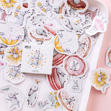 45pcs/box Lovely Hare Diary Handmade Paper Label Sealing DIY Decoration Shaped Stickers