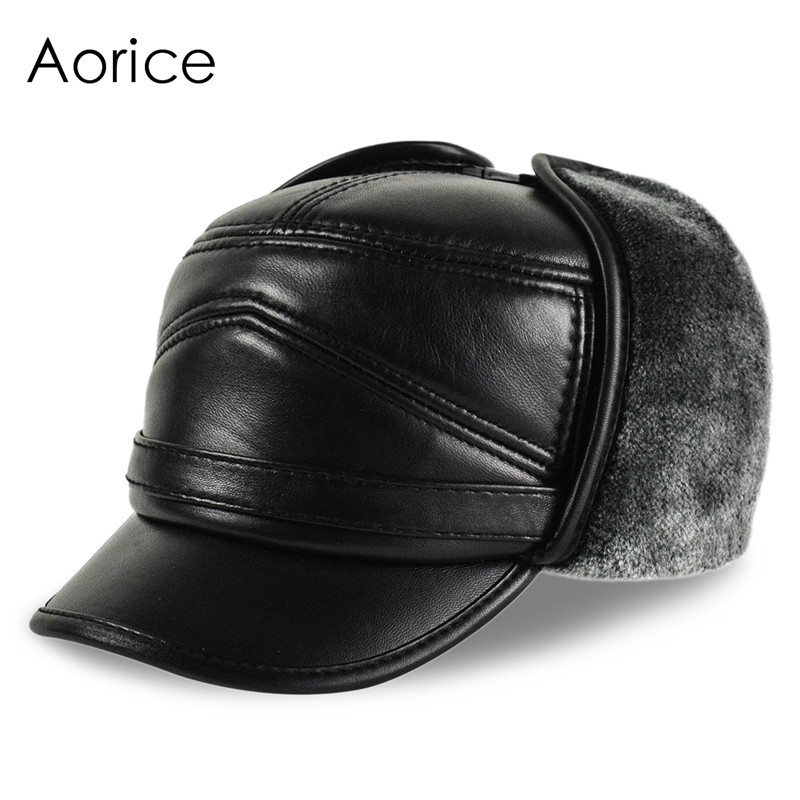HL164-F Genuine leather baseball cap hat  men's brand new cow skin leather hats caps ear flap black with Faux fur inside