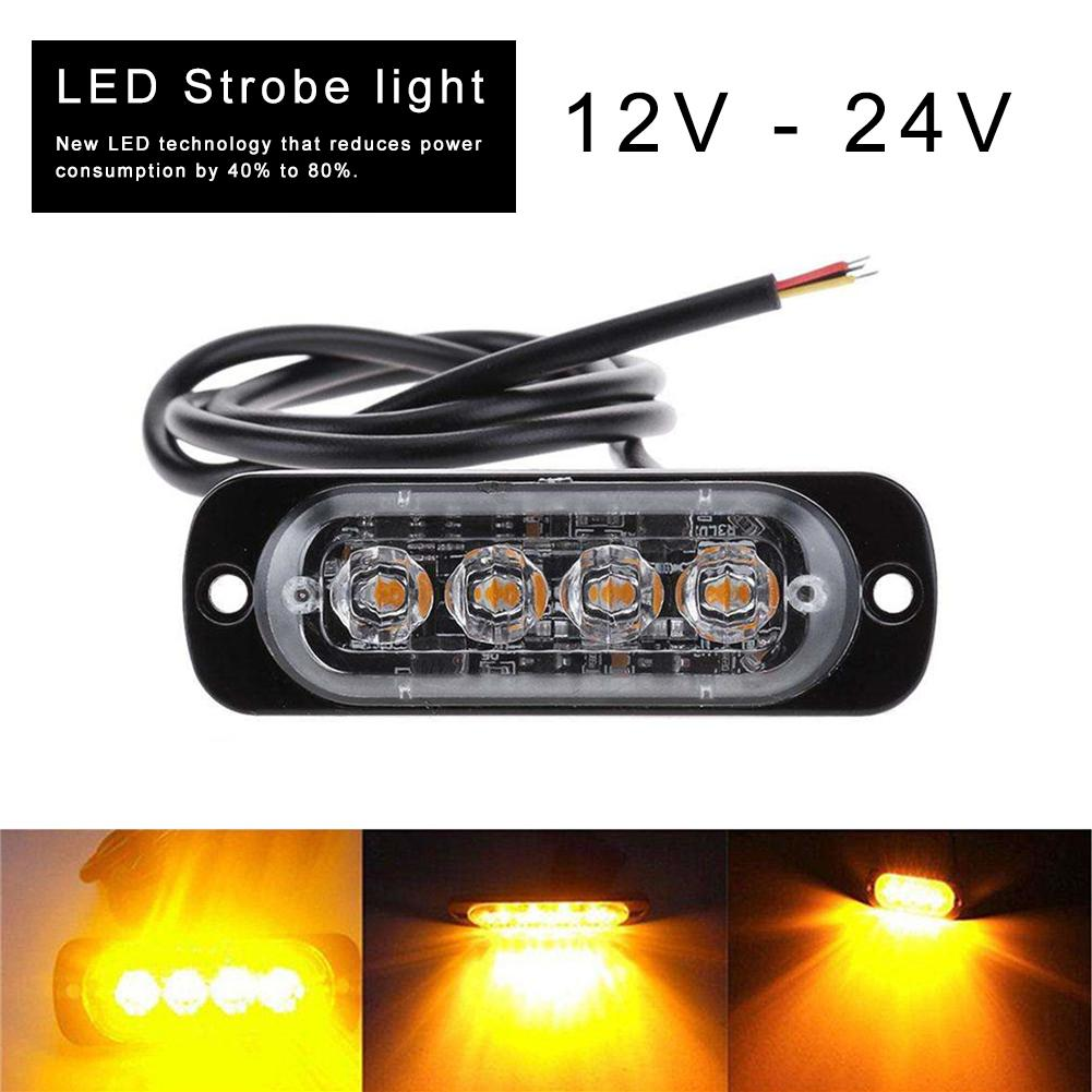 Truck 12V <font><b>24V</b></font> 4 <font><b>LED</b></font> Strobe Warning Light Strobe Grille Flashing Lightbar Truck Car Beacon Lamp Amber Yellow White Traffic Light image