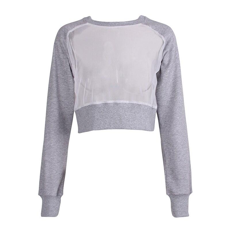 Edgension New 2018 Spring Fashion See-through Mesh Patch Crop Sweatshirt European Style Sheer Sweat Shirt Short Sweat Suits