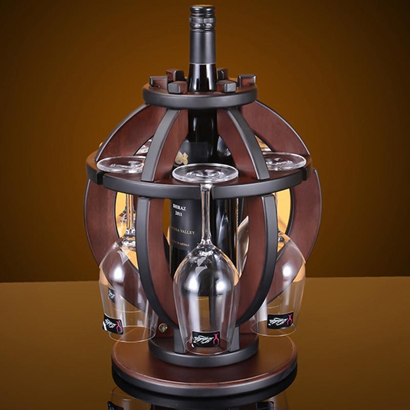 Creativo 32 cm H Cremagliera del Vino in legno Mobili Per La Casa Vintage Lanterna Rossa Vino Champagne Calici Supporto Del Vino Bottiglia di Vetro