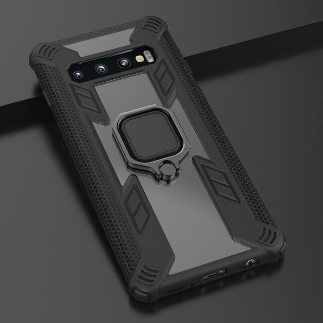 Metall Ring Stand Magnetische Abdeckung Für Samsung Galaxy S10Plus S10Lite S10 Heavy Duty Schutz Armour Auto Halterung Fall