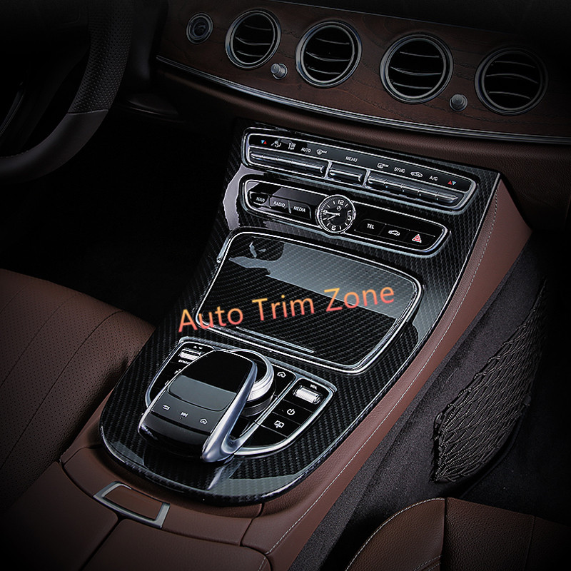 ABS Plastic Artificial Carbon Fiber Gear Box Panel Frame Cover Trim For Mercedes Benz E-Class W213 2016 2017 цена
