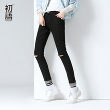 Toyouth New Arrival Cotton Full Length Jeans Autumn Fashion Distressed Button Pockets Hole Pencil Pants