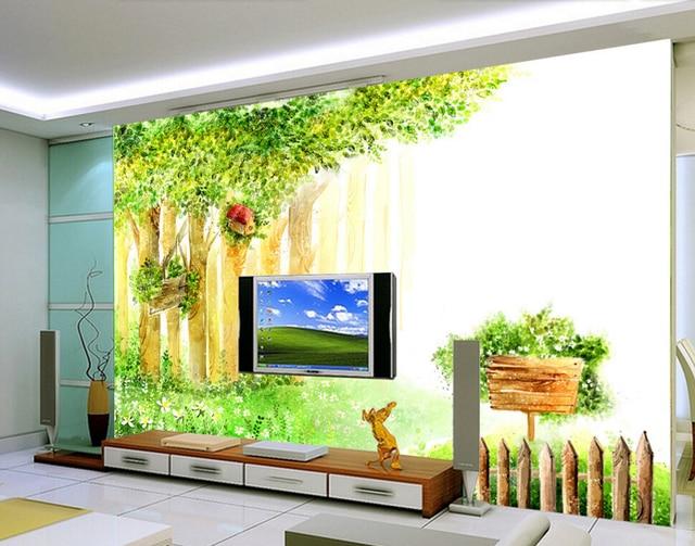 Custom baby behang groene boom fantasy cartoon d behang voor