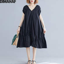 DIMANAF Plus Size Women Dress Big Female Vestidos Loose Ruffles Pleated V-Neck Elegant Lady Black Summer 2019 5XL 6XL