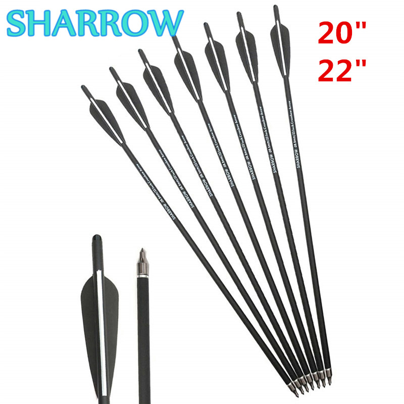 "12/24Pcs 20"" 22"" Crossbow Carbon Arrows Bolts Target Hunting Tips Broadhead 4"" Vanes For Training Shooting Archery Accessories