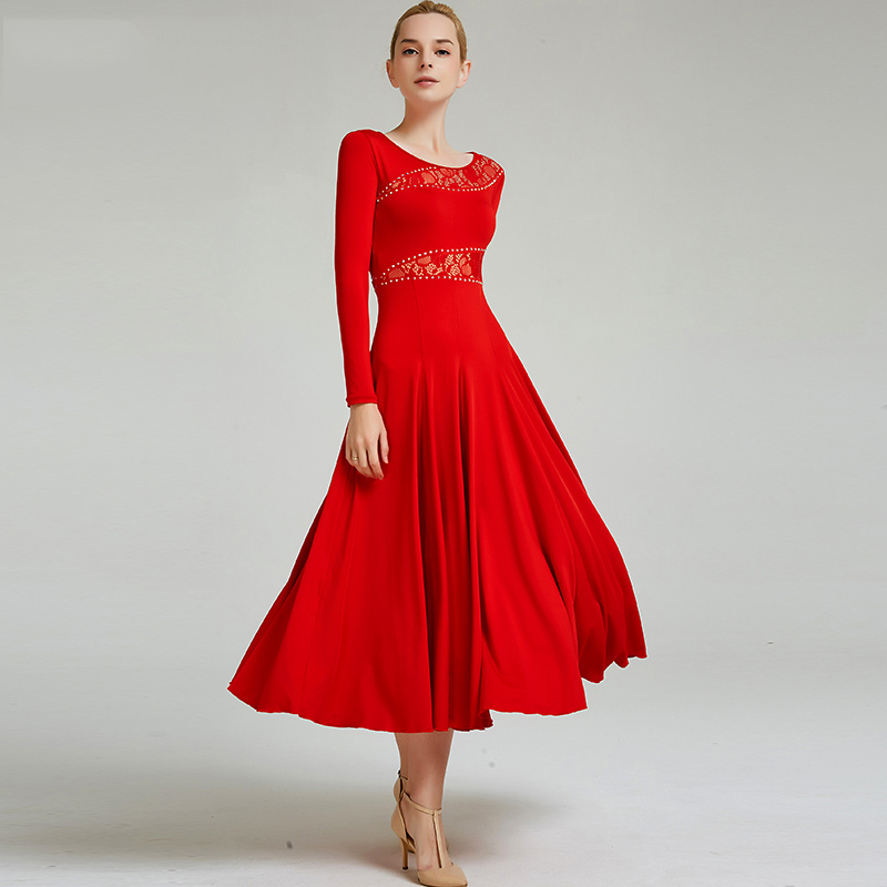 Ballroom Dance Dresses Lady Long Sleeve Round Neck Lace Spanish Flamenco Dress Women Waltz Dacning Clothes Practice Wear DN3262