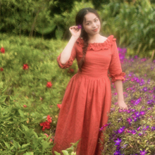 [AIGTOS-SHCAI] Autumn Women French Vintage Royal Slash Neck Half Sleeve Handmade Ruffle Brick Red Cotton Linen Long Maxi Dress