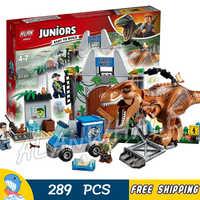 289Pcs Jurassic Welt Junioren T. rex Breakout Dinosaurier Wissenschaft Station Abbildung Bausteine Spielzeug Kompatibel Mit LegoING