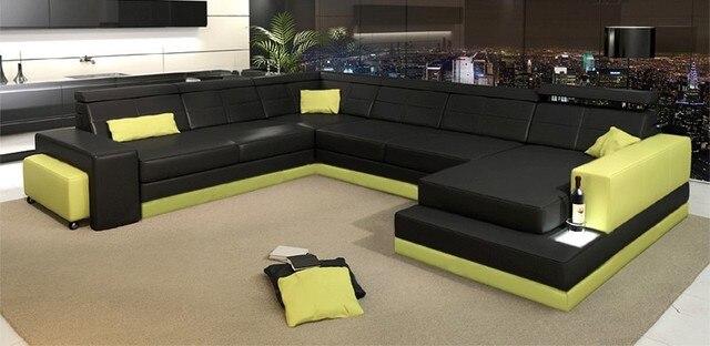 China Sofa Factory Price U Shape Sectional Leather Sofa C4010