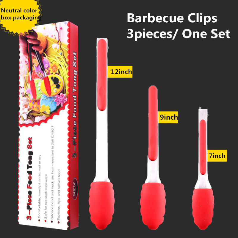 High Temperature Anti-skid Food Clip 7 Inch 9 Inch Silicone Food Clip Three-piece Stainless Steel Barbecue Clips One Set