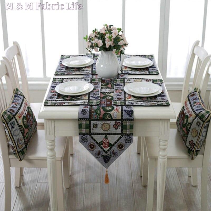Ensemble de décoration de Table en coton polyester nappe rétro motif fil teint chemin de table table serviette de table tapis de table canapé coussin