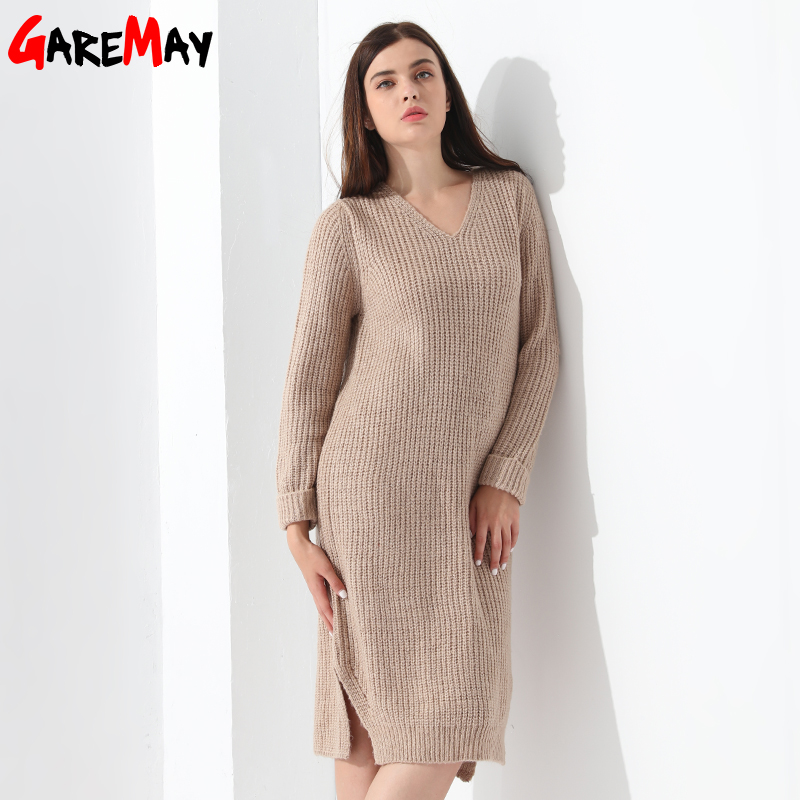 Sweater Dress Women Pullovers Knitted Dress Ladies Elegant Long Sleeve Loose Casual Clothing V Neck Vestidos Mujer Robe GAREMAY