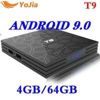Newest 4GB RAM 64GB ROM Android 9.0 TV Box T9 RKchip QuadCore USB 3.0 4K Set Top Box 2.4G/5G Dual WIFI 2G16G Smart Media Player