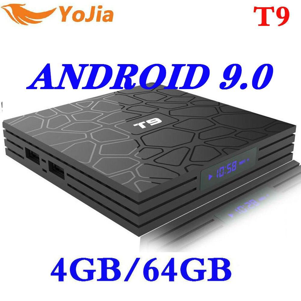 O mais novo 4 gb ram 64 gb rom android 9.0 caixa de tv t9 rkchip quadcore usb 3.0 4 k definir a caixa superior 2.4g/5g duplo wifi 2g16g smart media player