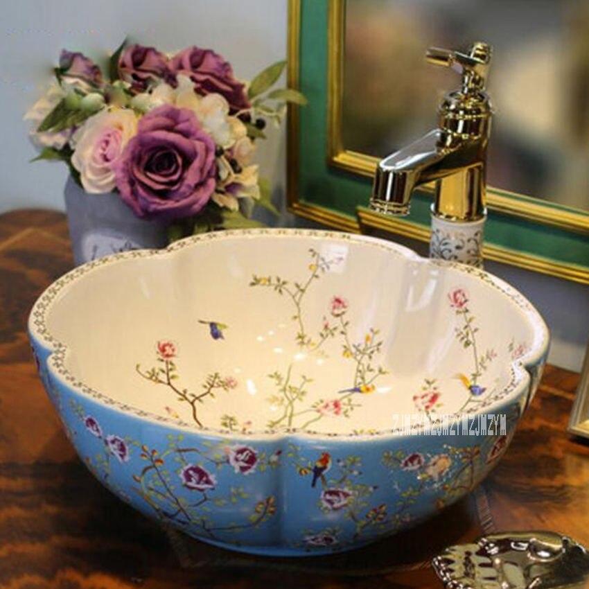 Европейский стиль, домашняя керамическая Столешница, умывальник, высокое качество, домашний умывальник, художественная ванная раковина, керамическая раковина - Цвет: blue