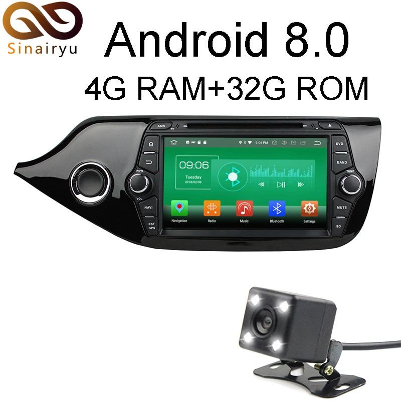 Sinairyu 4G RAM Android 8 0 Car DVD For Kia CEED 2014 Octa Core 32G ROM