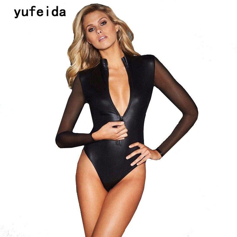 c1b367e6dc YUFEIDA Sexy Black PU Leather Bodysuit Women Jumpsuit Mesh Long Sleeve Wet  Look Catsuit Zipper Rompers Outfits Clubwear Costume-in Bodysuits from  Women s ...