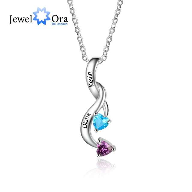 2 Heart Personalized 12 Birthstone Engrave Name Pendant Necklace 925 Sterling Silver Jewelry Gifts For Her (JewelOra NE101990)