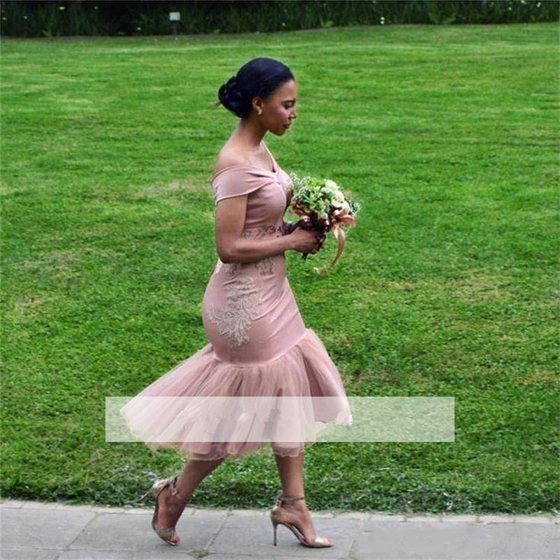 2019 Cheap   Bridesmaid     Dresses   Under 50 Mermaid Off The Shoulder Appliques Long Wedding Party   Dresses   For Women