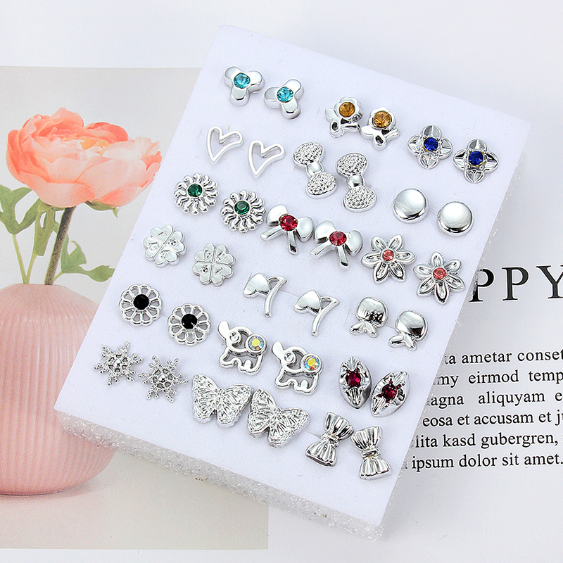 HTB1.FJnaND1gK0jSZFyq6AiOVXaE - 36Pairs/18pairs Earrings Mixed Styles Rhinestone Sun Flower Geometric Animal Plastic Stud Earrings Set For Women Girls Jewelry