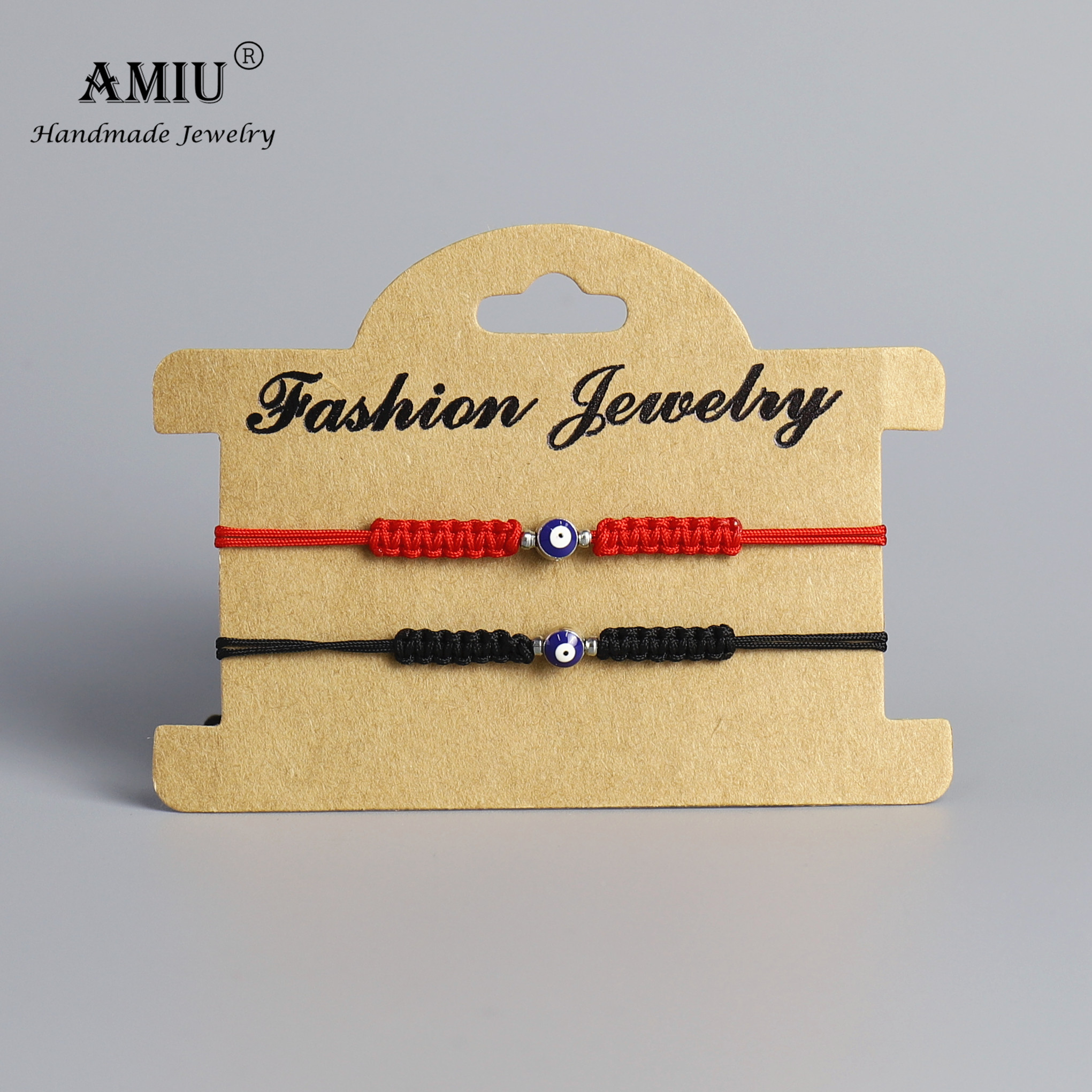 AMIU Handmade Turkish Lucky Blue Evil Eye Bracelets For Couple Friend Handmade Knot Bracelet Braided Red Rope Jewelry image