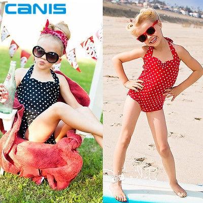 Girls One Piece Swimwear Swimsuit Girls One Piece Dress Dots Children's Swimwear Girls Bathing Suits Baby Swimming Suit Toddler