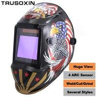 Welding Tools Power Test Solar Li Battery Auto Darkening Grinding Polish TIG MIG MMA Welding Helmet