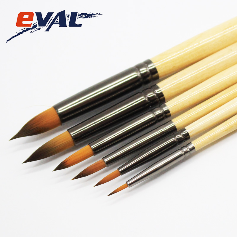 Eval Round Shape Nylon Hair 6Pcs Chinese Watercolor Paint Brushes DIY Drawing Art Brushe ...