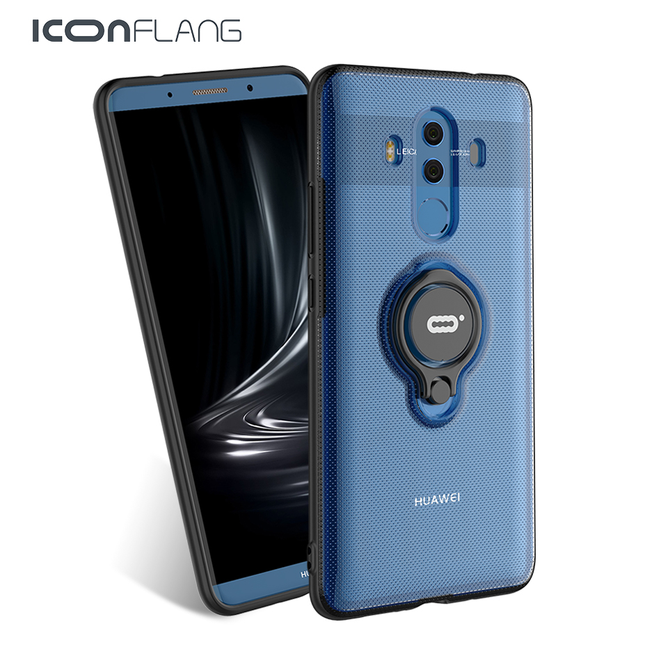 For Huawei Mate 10 Pro Case Luxury Metal Ring Cover TPU PC Coque Accessory Capa For Mate10pro Funda Iconflang